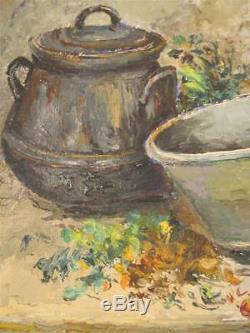 Peinture Huile Nature Morte Scène Cuisine signé Alphonsine BOUQUET 1951 BENEZIT