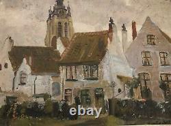 Peinture Huile Sur Panneau Vue Sur Eglise Signée Edmond Victor Jamois XIX Eme