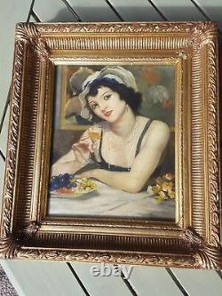 Peinture Huile sur bois Femme aux dessert