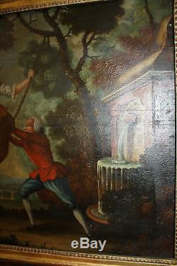 Peinture / Huile sur bois Scène galante fin XIX eme