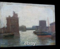 Peinture La Rochelle XIX impressionniste Marine Voilier Charente