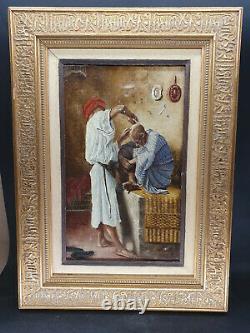 Peinture Orientaliste signé Ribains Huile sur toile 1887 Cadre en bois 43x31 cm