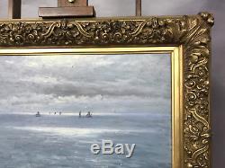 Peinture Signée R. Caillot / Huile Sur Panneau (paysage De Mer) Superbe Cadre