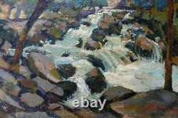 Peinture Tableau Huile Sur Toile R. Thuillier Torrent Bois Cubiste Fauviste