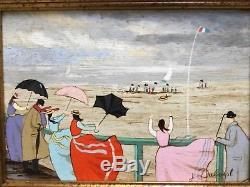 Peinture Vintage Sur Bois Marine Personnages sur Jetéede J. Duboist 27cmx19cm