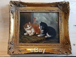 Peinture à l'huile sur bois Carvers & Gilders 2 chatons Picture Makers England