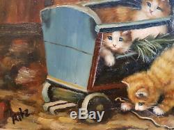 Peinture à l'huile sur bois Carvers & Gilders 4 chatons Picture Makers England