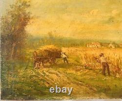 Peinture à lhuile sur bois signé paysan campagne champs paysage à nettoyer