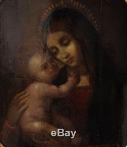 Peinture ancienne 17ème, Ecole Espagnole, La Vierge et l'Enfant Jésus