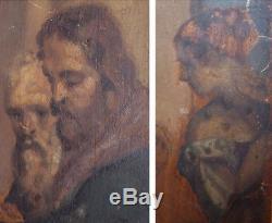 Peinture ancienne Christ St Barnabé Peinture sur bois esquisse proche Goya