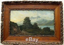 Peinture ancienne Paysage montagne et lac huile sur panneau de bois