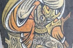 Peinture celtique signée du peintre breton Gérard Guéguéniat Saint Hervé 32 x 47