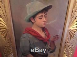 Peinture d'époque XIXe signée Jeune homme à la cigarette Beau cadre d'époque
