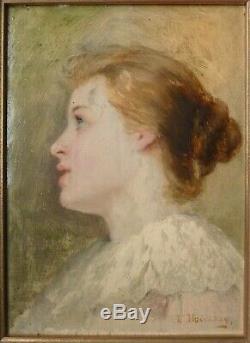 Peinture de Joséphine HOUSSAY (1840-1914) sur panneau portrait de femme