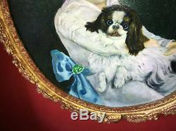 Peinture du XIXe Portrait de petite fille au chien Medaillon en bois doré