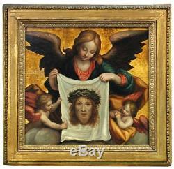 Peinture du XVIe Siècle. Huile Sur Bois. Les Anges portant Le Voile du Christ