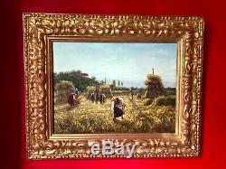 Peinture fin XIXe signée Les Glaneuses Beau cadre doré