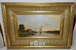 Peinture huile sur acajou XIXe canal voilier école Suisse Duval Louis Etienne