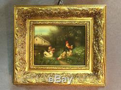 Peinture / huile sur bois Le Poulailler signée G. ROY