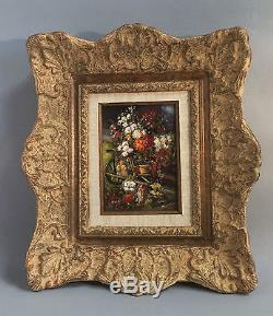 Peinture / huile sur bois bouquet de fleurs