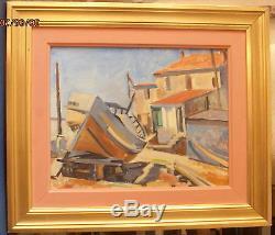 Peinture huile sur bois signée RAISSAC quartier du SOURAS BAS SETE 1946