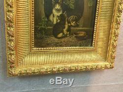 Peinture / huile sur panneau à décors de chats