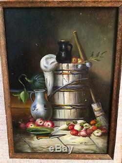 Peinture / huile sur panneau bois nature morte