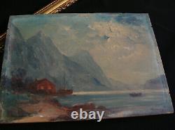 Peinture marine ancienne signée huile sur panneau de bois