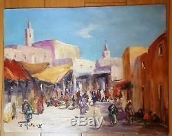 Peinture orientaliste huile sur bois. 27x35 cm