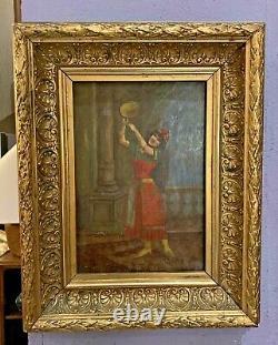 Peinture orientaliste sur panneau danseuse au tambourin XIXème