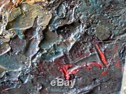 Peinture tableau ancien orientaliste paysage scène de mer huile oil signé