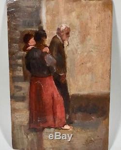 Peinture, tableau ancien, scène de rue