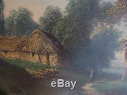 Pendant de tableaux Paysage animé XIX° Montagne et rivière signé Legrand Tondo
