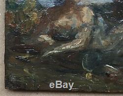 Petit Tableau Scène Mythologique Couple Paysage Mer Auguste Chavard (1810-1885)