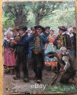 Petite Peinture Tableau Huile Theophile DEROYLLE Fête Bretonne Bretagne 1900