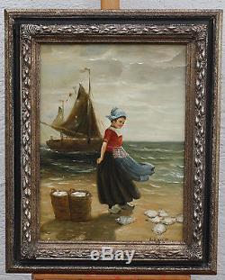 Petite fille au bord de la mer/ MAGNIFIQUE IMPRESSIONNISTE