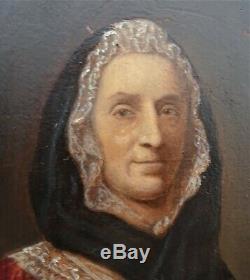 Petite huile sur bois 19ème portrait de dame à l'éventail