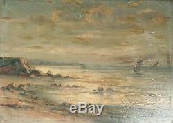 Petite peinture 19e siècle marine bateau mer Signée Maurice FURT
