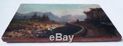 Petite peinture du 19e siècle huile sur bois Paysage de montagne