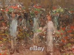 Pierre Chapuis Tableau Huile Bois Marche Aux Fleurs Paris Post Impressionnisme