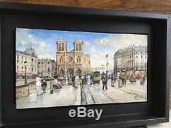Pierre Saez peinture à L huile sur bois Notre Dame de Paris