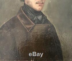 Portrait Buste Dhomme Peinture Huile Sur Bois Cadre En Bois Doré XIX Éme Siècle