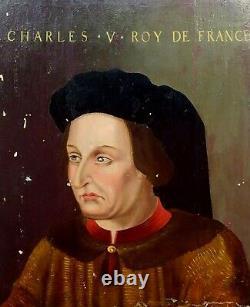 Portrait De Charles V De France. Huile Sur Bois. École Flamande. France. Xvie