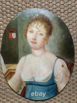 Portrait De Jeune Femme Huile Sur Bois