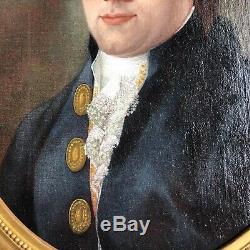 Portrait De Robespierre Huile Sur Toile Ovale Cadre En Bois Dore 18 Eme Siecle
