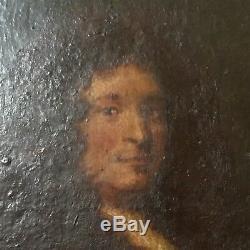 Portrait Jean Racine (1639-1699) Tableau Huile sur Bois Encadré French Painting