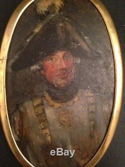 Portrait Miniature XIXe siècle Militaire en cuirasse Chapeau Tricorne 19th