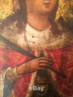 Portrait Sainte Catherine D'Alexandrie Tempera Sur Bois Époque A Determiner