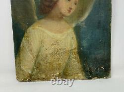 Portrait d'Ange & XVIII e & Huile sur Papier Marouflé sur carton & Peinture