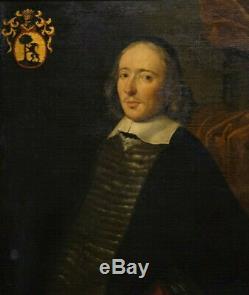 Portrait d'Homme En Buste Avec Armoiries. École Hollandaise Du XVIIe